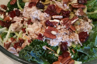 feature rainbow kale salad with tuna