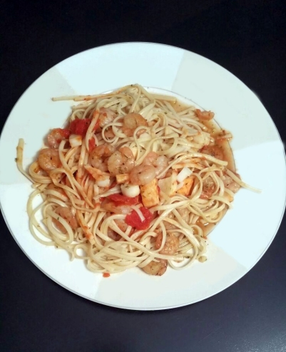 shrimp and heart of palm pasta