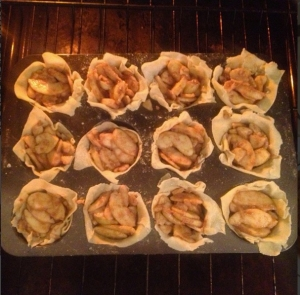 Apple Tartlettes going into the oven