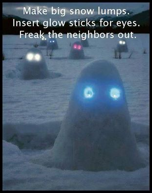 snow lumps with glow eyes