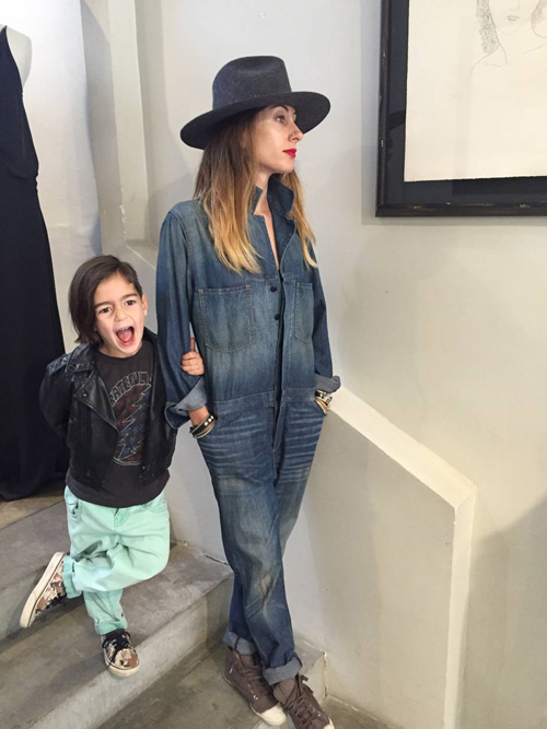 Alissia Marciano OOTD denim and hat with son