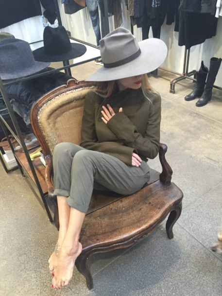 Alissia Marciano OOTD jacket and hat in chair