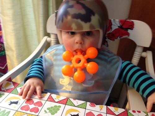 tyson helmet toy in mouth