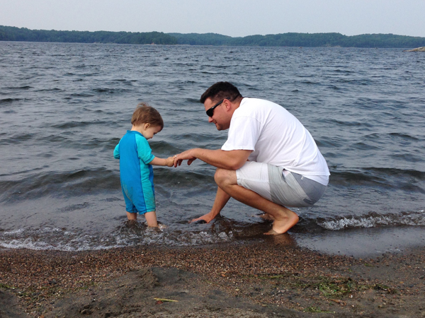 dad and carter in lake