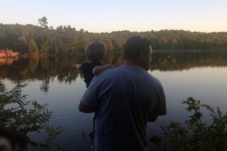 dad and carter at lake