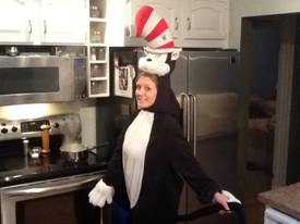 Kathleen dressing up for Halloween