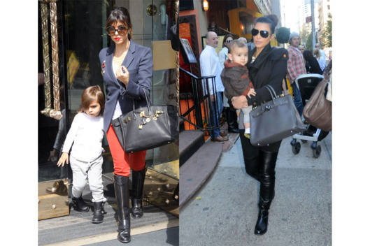 Kourtney and Kim carry their Birkins, adding another $60,000, making it over $100,000 worth of bags between these 5 celebs.
