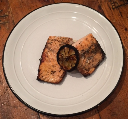 barbecued salmon on plate