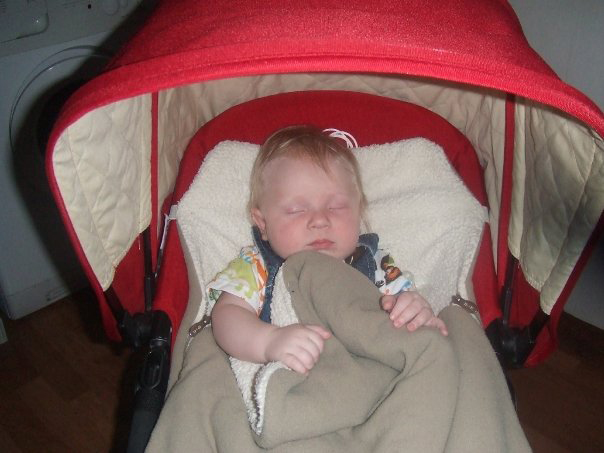 My boy, snug as a Bugaboo in the classic red Bugaboo Frog. I loved this stroller.