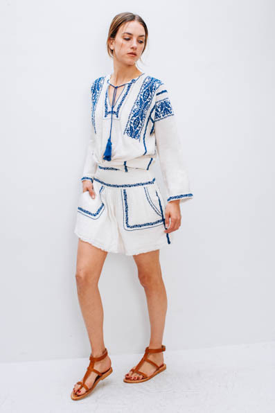 Etoile Vince Top by Isabel Marant, Etoile White Vittoria Skirt by Isabel Marant, Sandals by K Jacques
