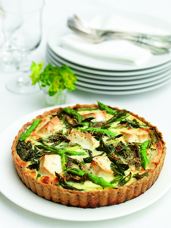 ASPARAGUS, SWISS CHARD & GOATS CHEESE TART: This tart is a must for a picnic; accompanied by a simple salad and minted new potatoes. The filling can be varied according to taste and what ingredients you have available. You can make one large tart or individual ones with different fillings, to satisfy all tastes!