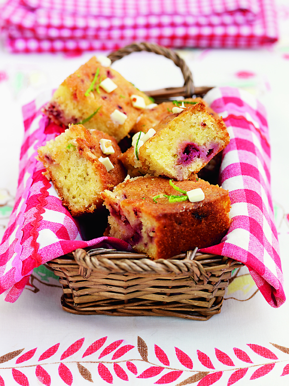 LIME, RASPBERRY & WHITE CHOCOLATE DRIZZLE CAKE: Cut into hearty chunks and served with a dollop of thick cream or Greek yoghurt this is the best way to round off a lovely picnic lunch. You could use blueberries or blackberries instead of raspberries.