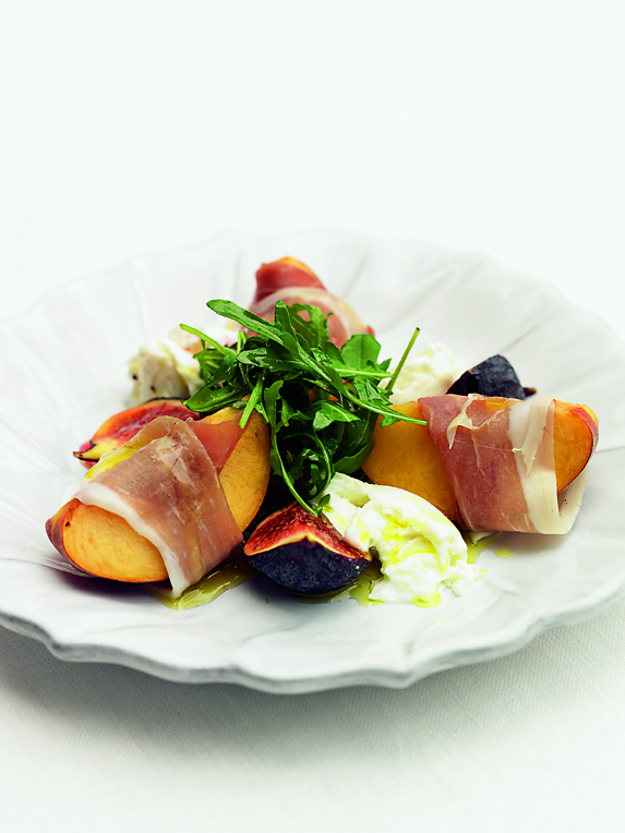 SALAD OF PROSCUITTO-WRAPPED PEACHES WITH FIGS & BUFFALO MOZZARELLA: This is a wonderful way to begin a picnic and the salad can be presented in a salad bowl or in a box for ease of packing and transporting it.